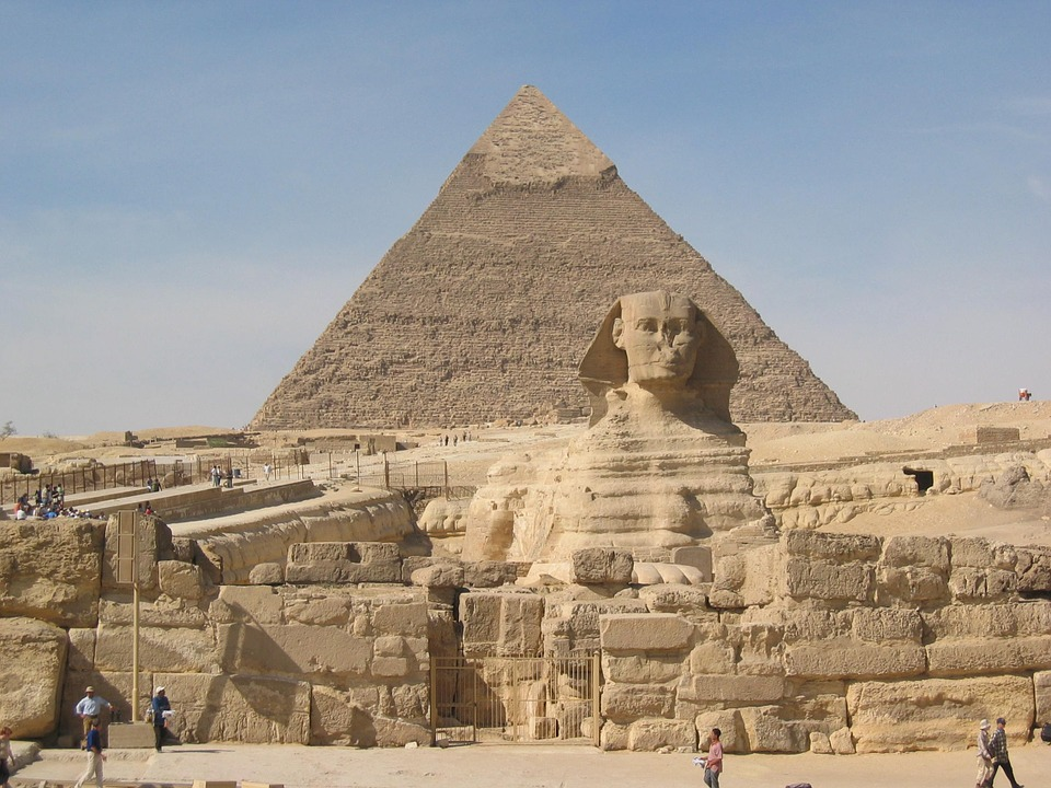 image of sphinx and pyramid